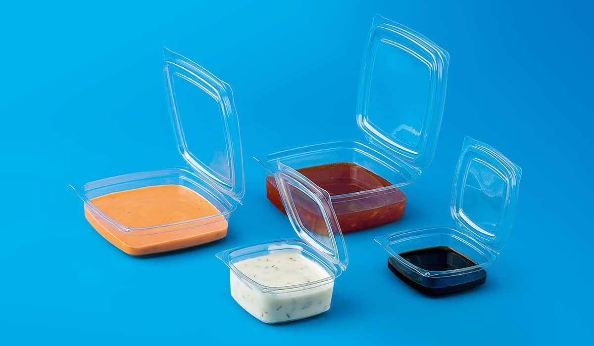 Hinged Lid PET Square Sauce Containers
